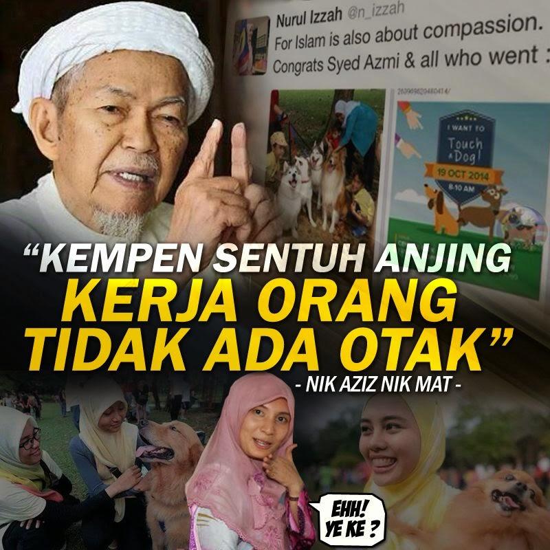 Nik Aziz Tak Setuju Program Sentuh ANJING Mat Sabu Macam Mana