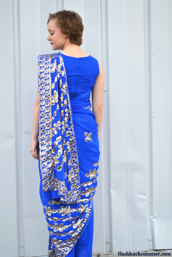 Flashback Summer: Indian Sari Debut - blue gold saree pallu