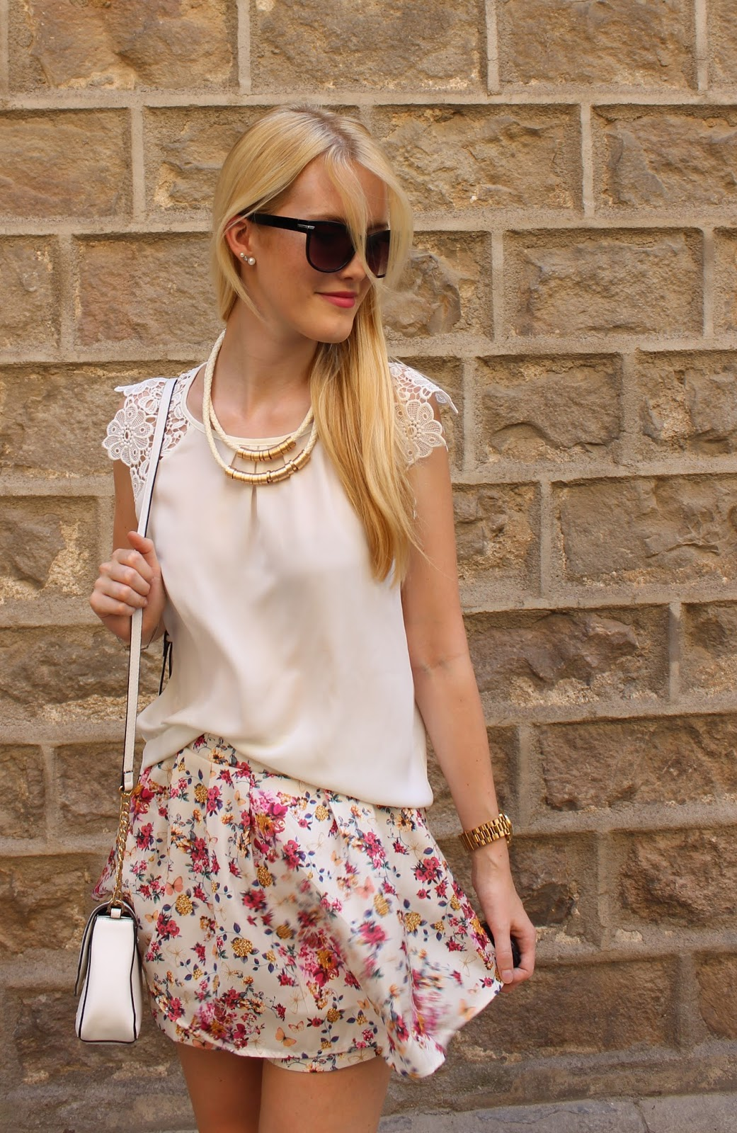 flower print skorts lace stradivarius zara mango flats outfit TheBlondeLion