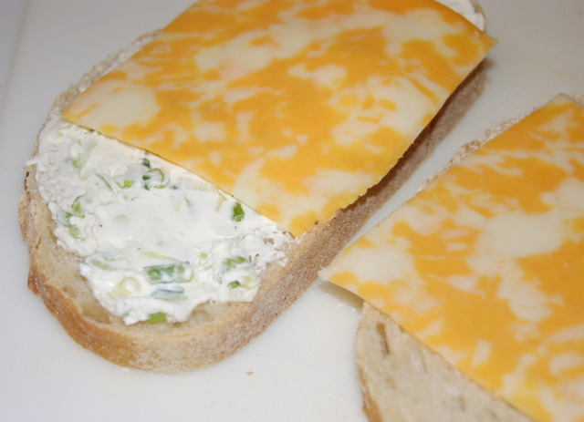 Making Jalapeno Popper Grilled Cheese