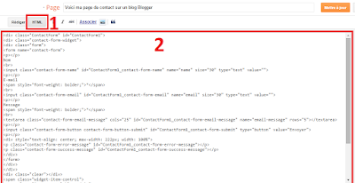 Code HTML pour une page contact Blogger