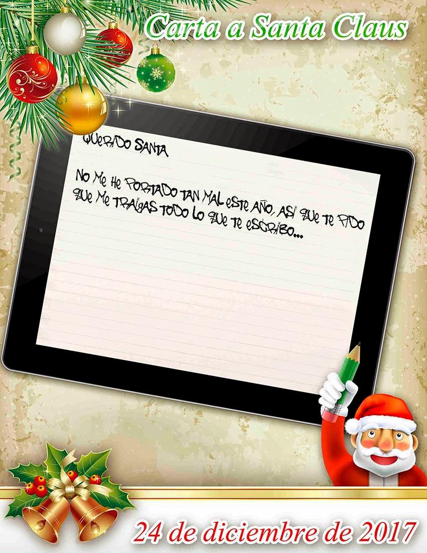 Santa Calus con esferas navideñas y tablet de juguete