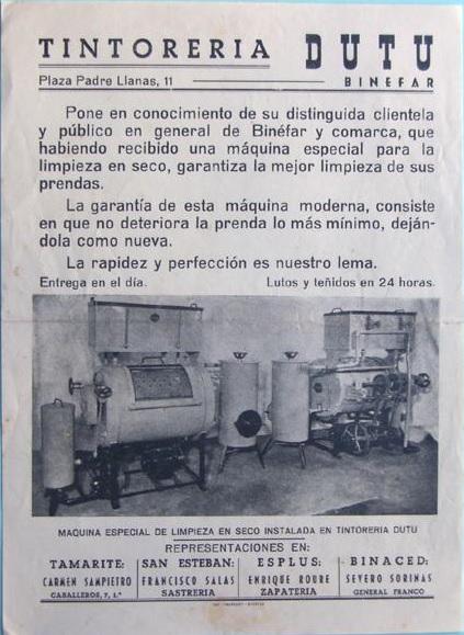 Publicidad Tintoreria DUTU- Binefar Años 60