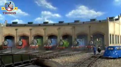 Childrens story of Dennis diesel and Thomas's Day Off autumn the Fat Controller Sodor Tidmouth sheds