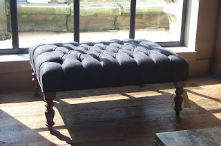 Tufted Footstool by Antiek Amber, as seen on linenandlavender.net