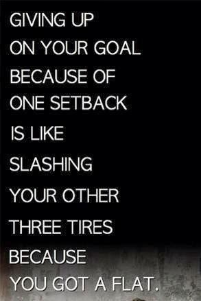 """giving up on your goals after one setback is like slashing all 3 tires because you got a flat"""