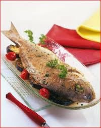 white fish recipes :Baked fish with tomatoes and aubergines