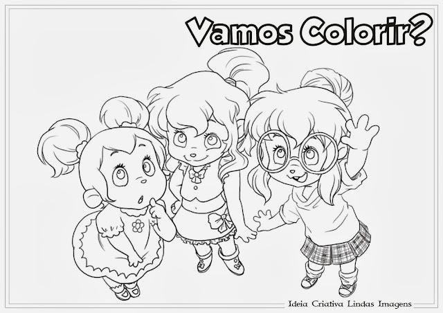 Desenho Alvin e os Esquilos Brittany Jeanette e Eleanor  para colorir