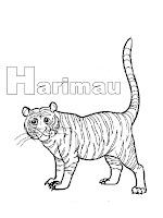 Belajar Mewarnai Huruf Abjad H Harimau