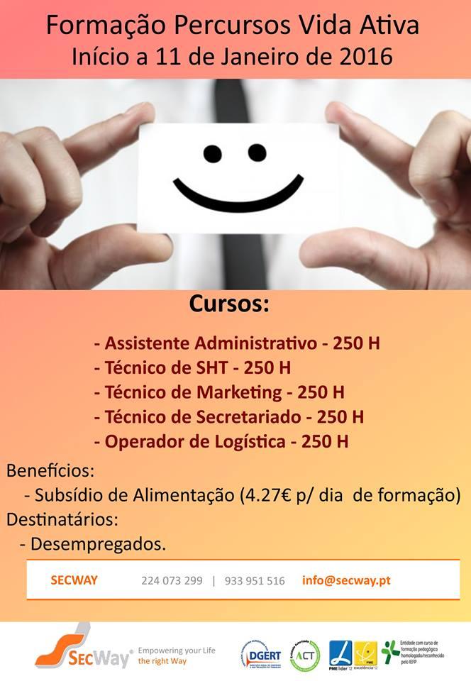 Cursos VIDA ATIVA subsidiados GAIA 2016 (para desempregados/as)