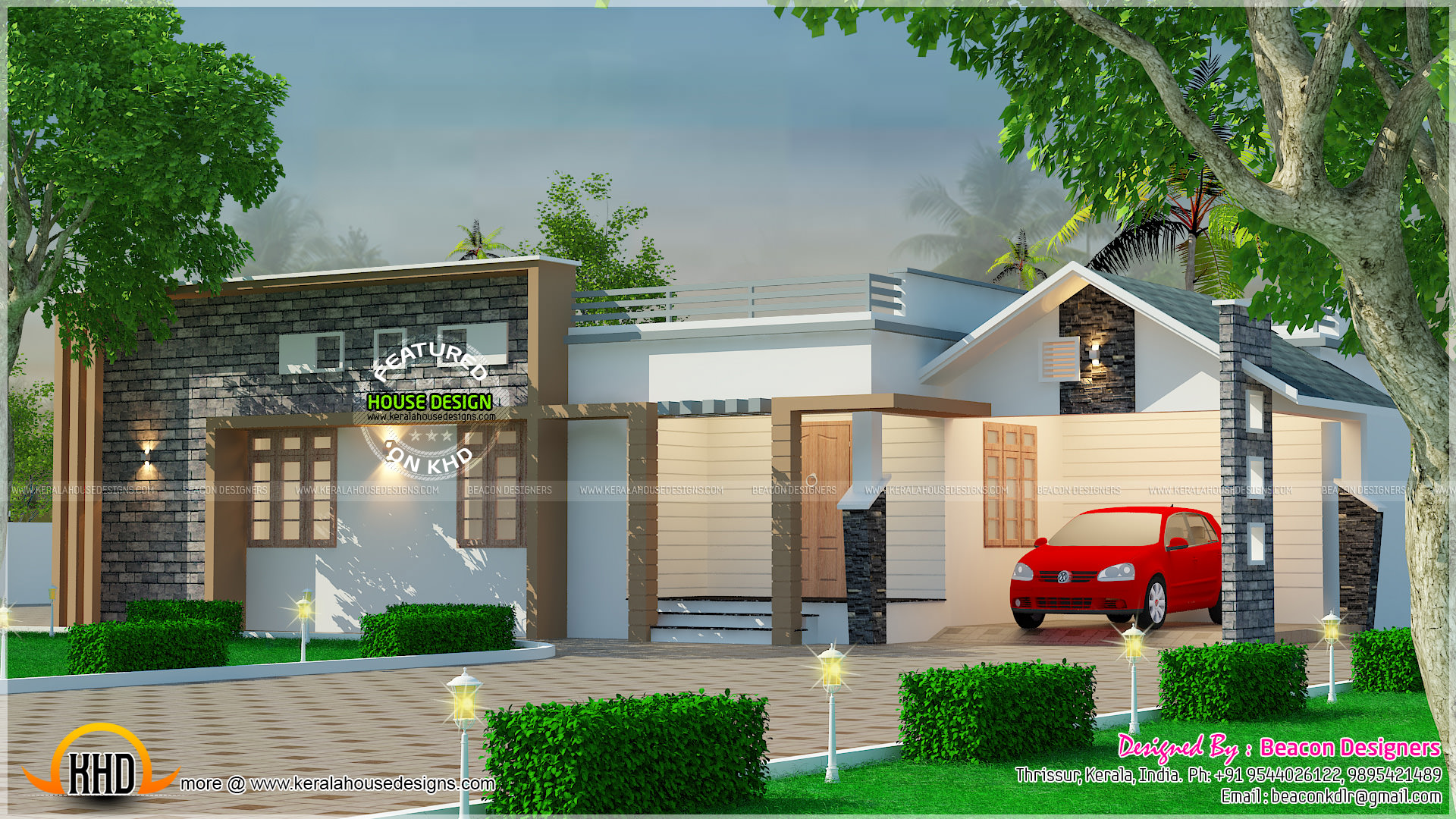 Modern mix roof single floor home kerala home design and for Modern single floor house designs