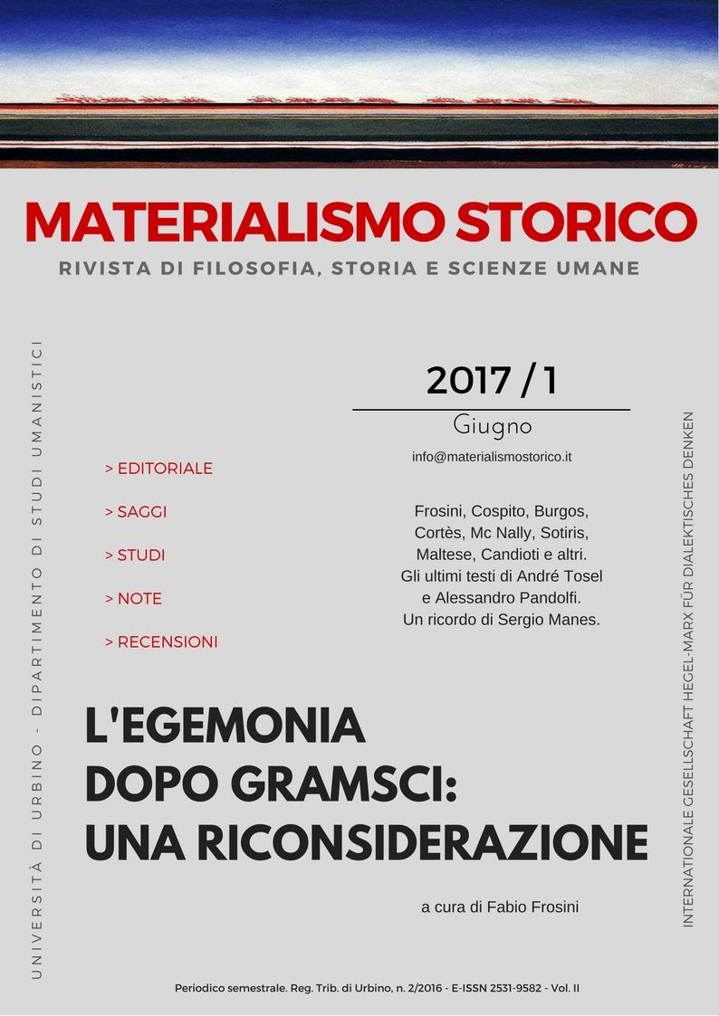 """E' on line il secondo numero di """"Materialismo Storico"""" (1/2017)"""