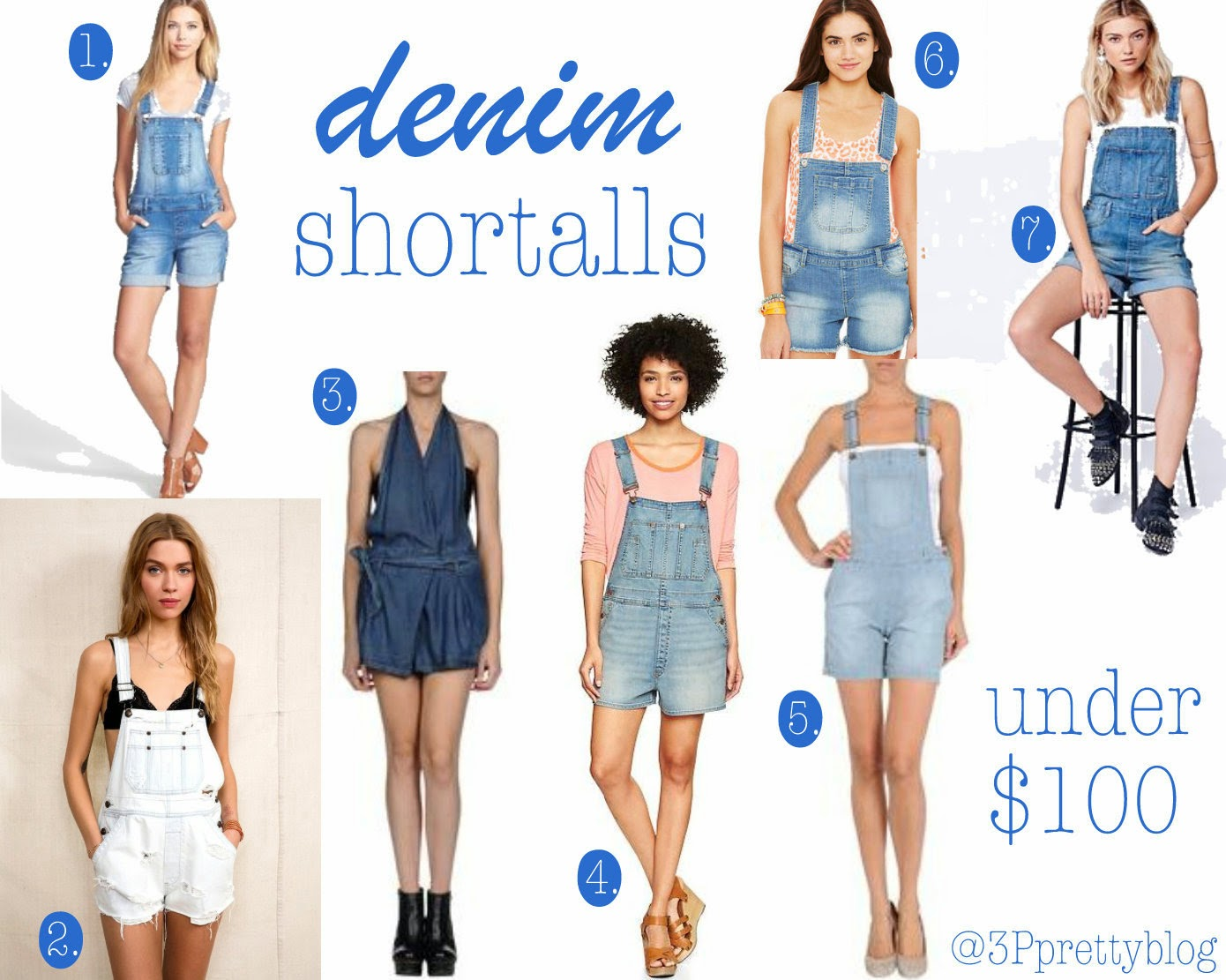 7 denim shortalls under $100