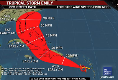 >Tropical Storm Emily Forms, Possible Threat Down the Road to US, Both Oklahoma City & Dallas may top 110º Today