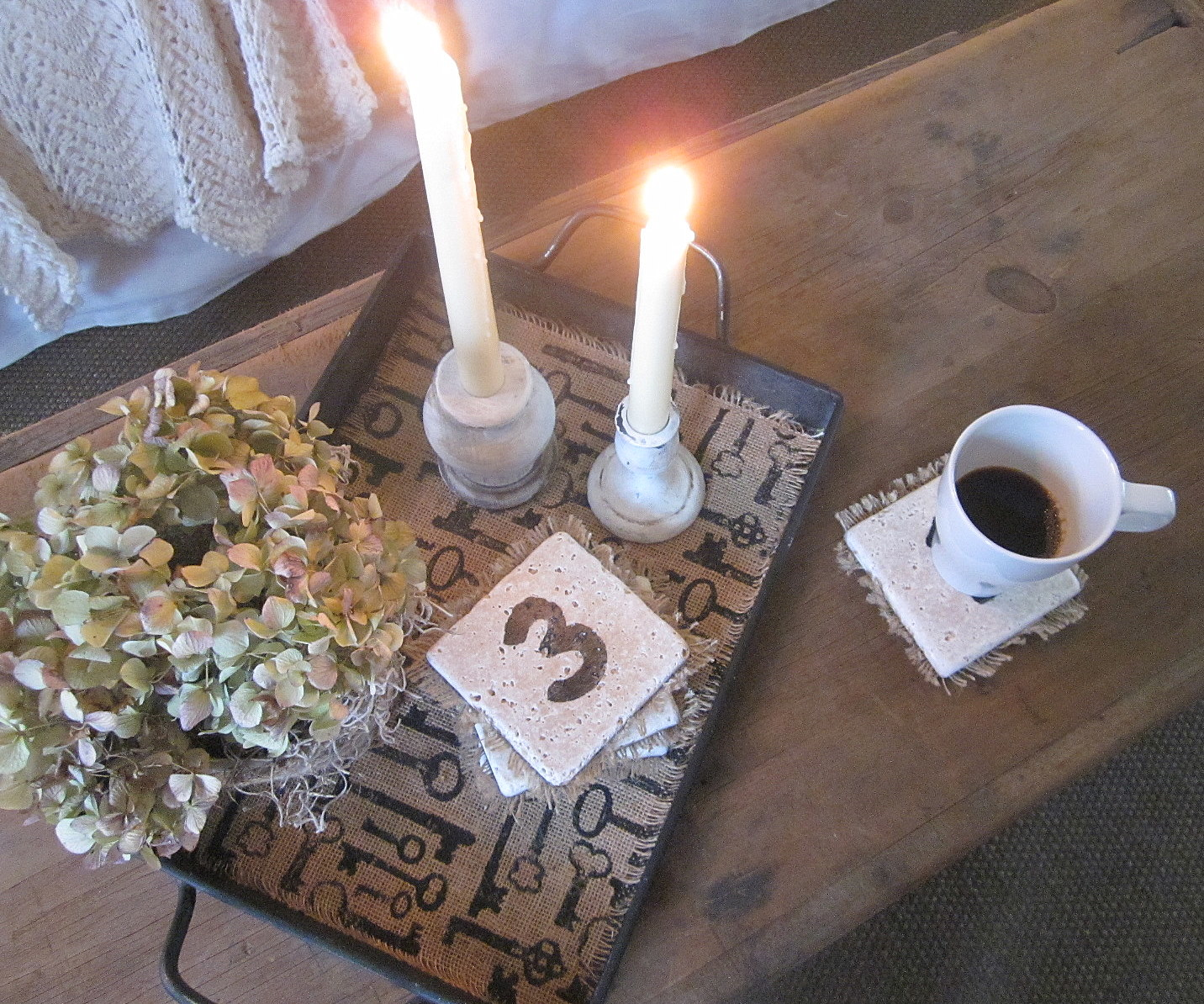 Down To Earth Style Travertine Number Coasters