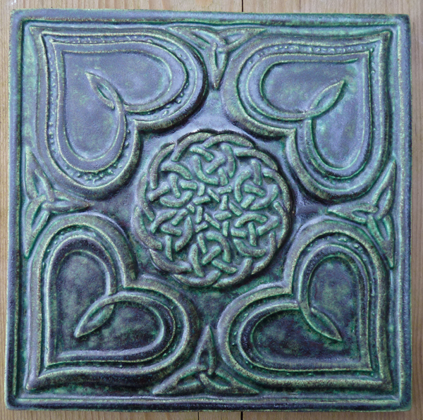 Decorative Handmade Ceramic Tile Relief Carved Celtic Heart Ceramic Tile