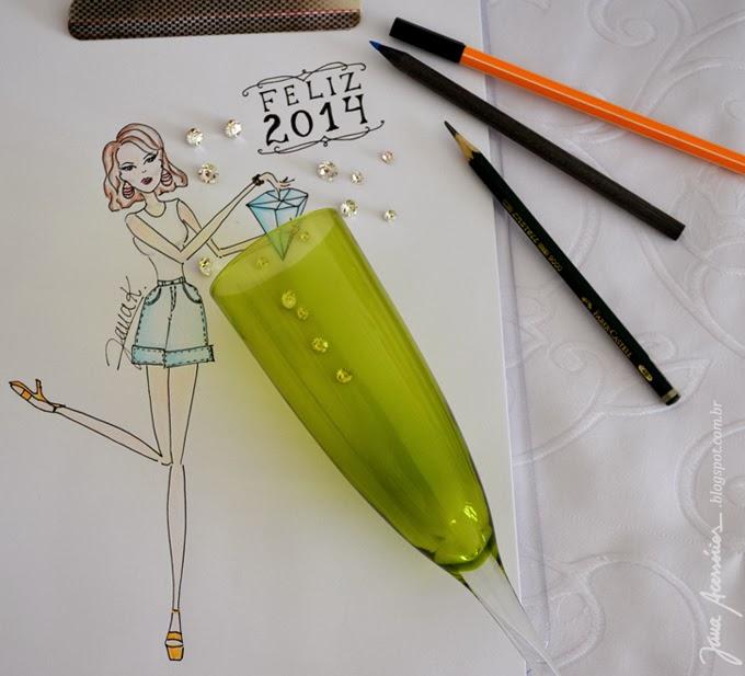 Ilustração por Jana K. Blog da Jana, blogueira, moda, acessórios, estilo, feliz 2014, fashion, style, estilo, 2014 , new year