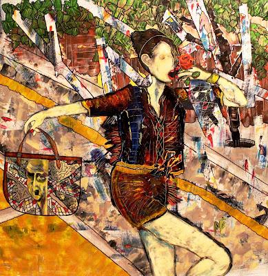 """""""Walking on a Wire"""" Acrylic & Pastel on Canvas  by Penelope Przekop"""
