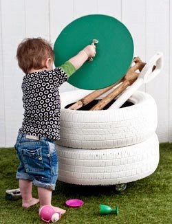 http://www.curbly.com/users/diy-maven/posts/8866-turn-old-tires-into-a-storage-bin#!TJg3q