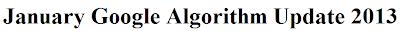 2013 January Google Algorithm