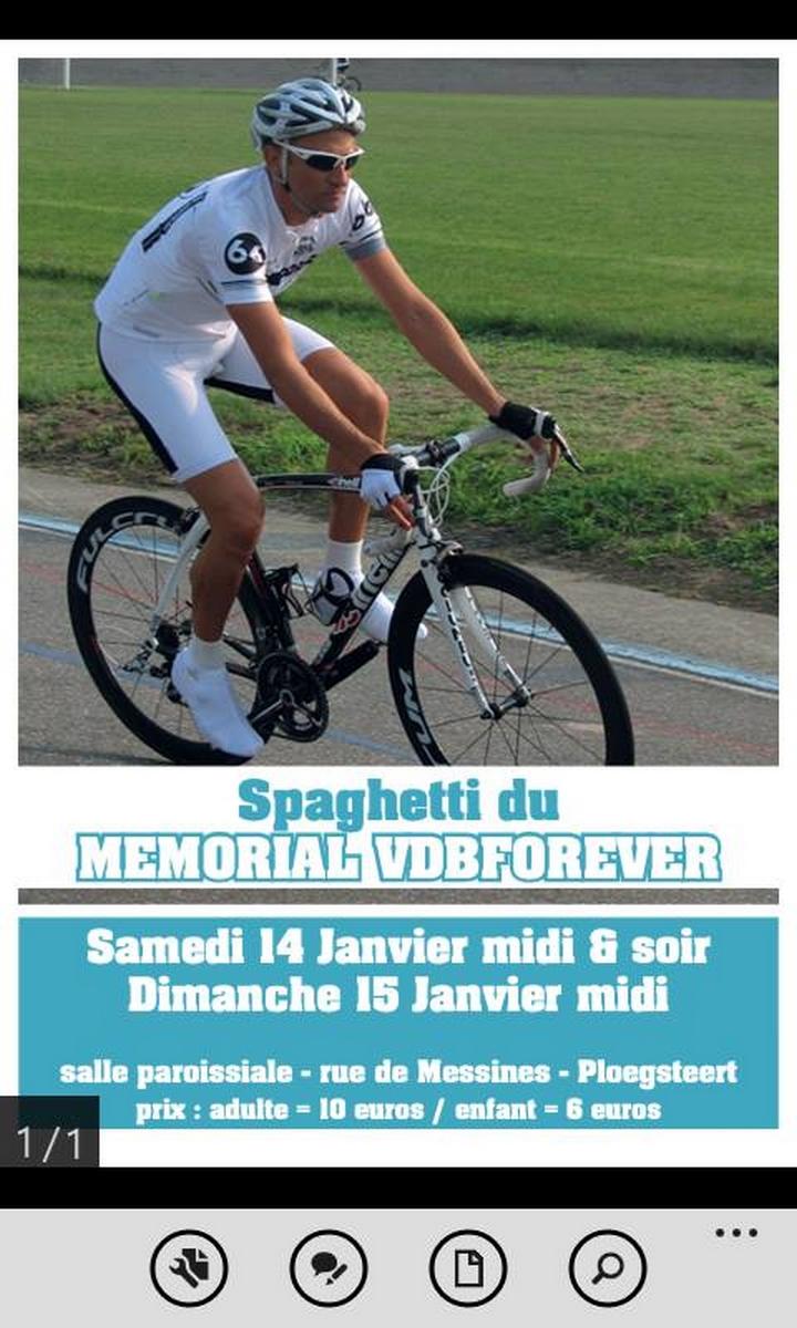 14 et 15 janvier 2017 Ploegsteert  Souper spaghetti   du mémorial Frank VDB forever. Bienvenue à to