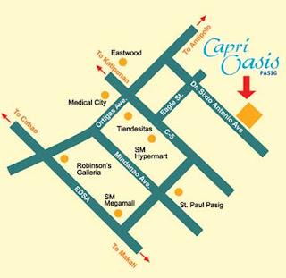 Capri Oasis Pasig Location Map, Condominium for sale in Pasig, Filinvest