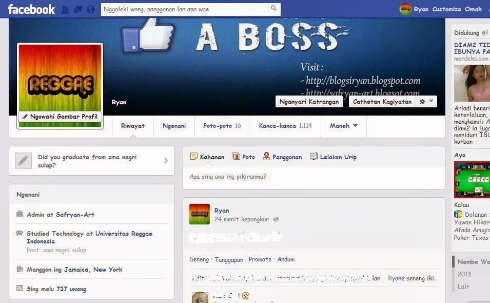 Cara Mudah Membuat Facebook Menjadi Bahasa Jawa