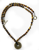 Golden Tiger Eyes with Coins Necklace