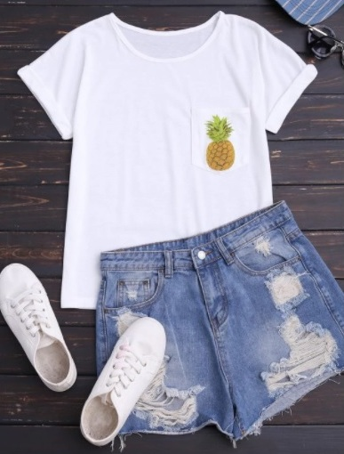 Try ZAFUL's Pineapple Print Cotton Cozy Tee