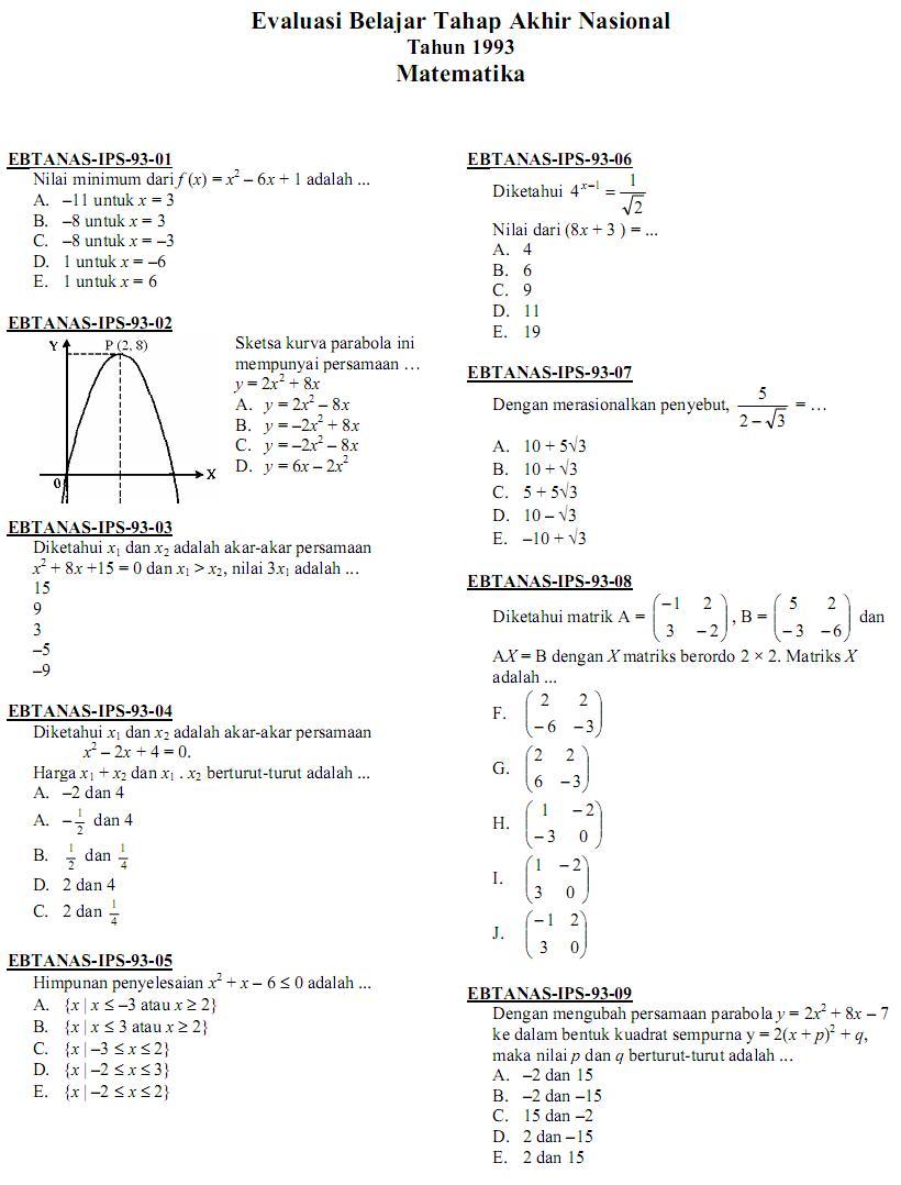 Matematika Di Sma Soal Ujian Nasional Matematika Ips Sma 1993