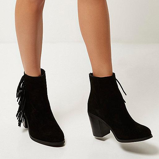 river island suede tassel boots, black suede fringe boots,
