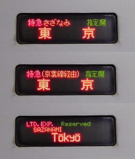 特急さざなみ 東京行き(京葉線経由) 255系(2015.3廃止)