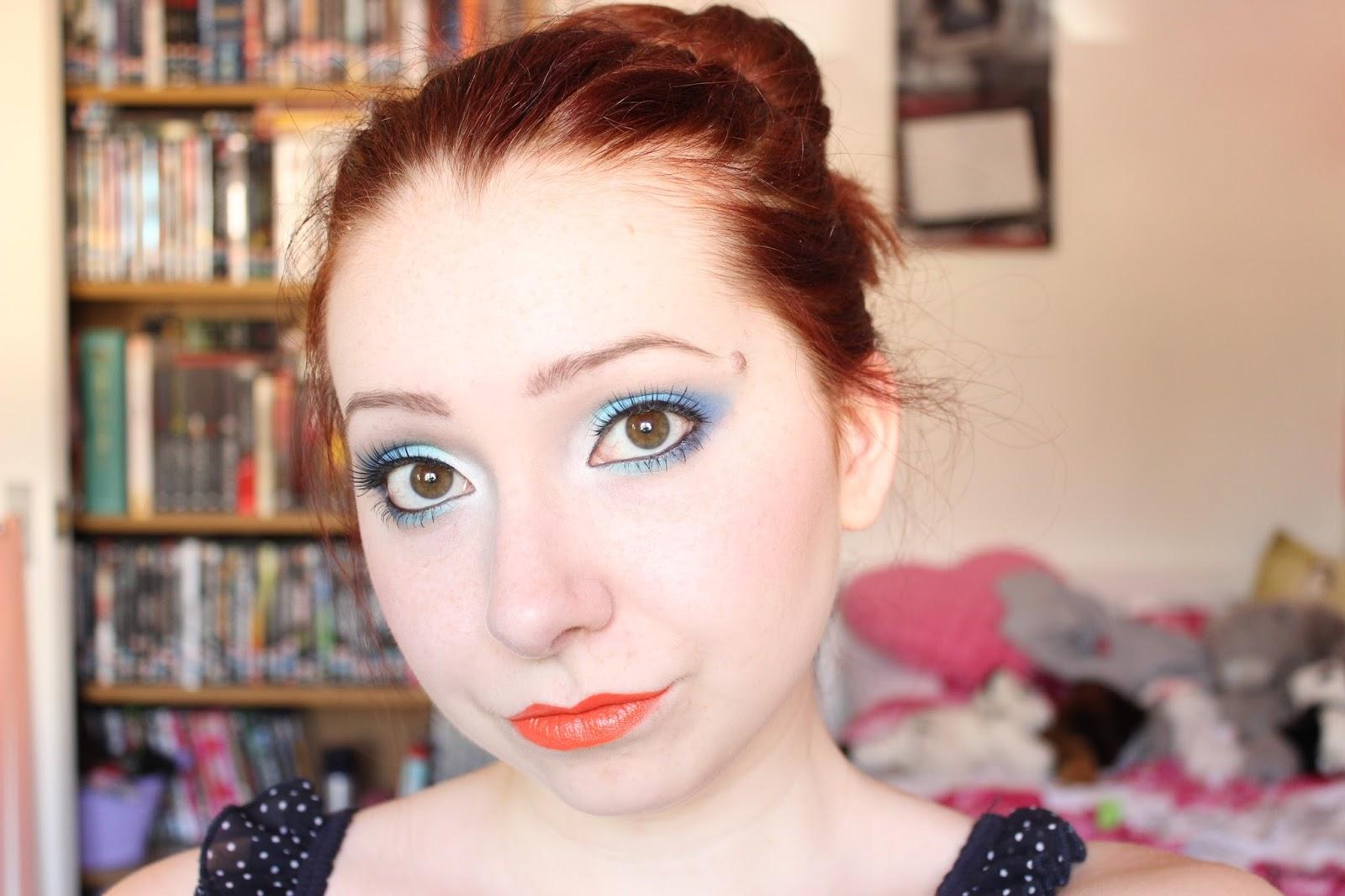 Makeup: Blue Eyes & Orange Lips