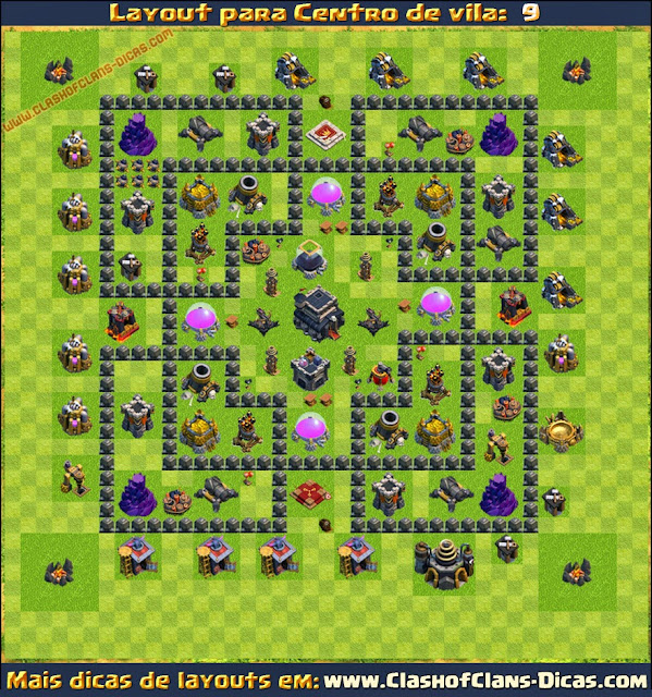 Layouts de Centro de vila 9 para Clash of Clans - Clash of