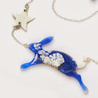 Dappled Leaping Hare Necklace