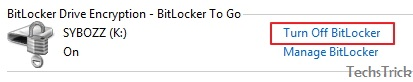 Turn off bitlocker from an encrypted drive