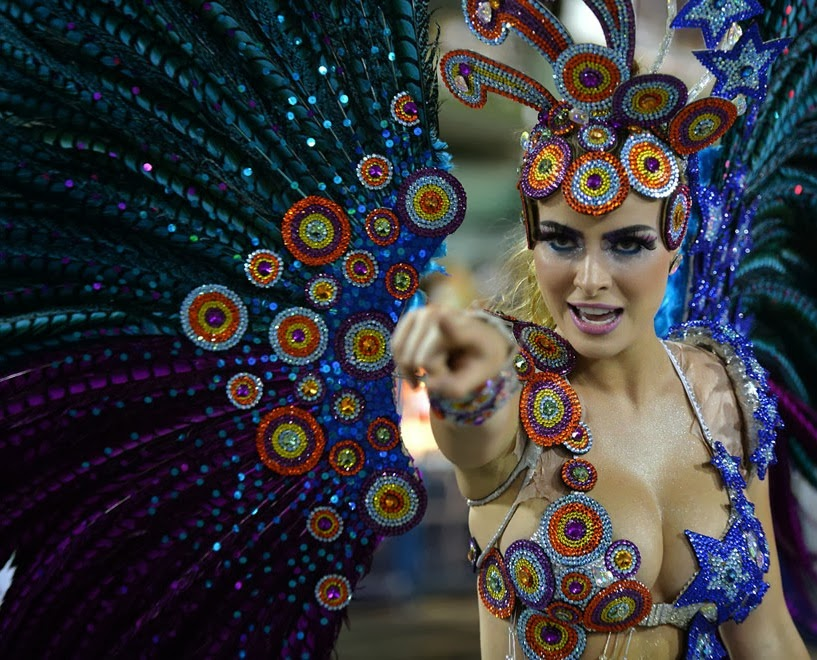 A dancer from the Grande Rio samba school performs during the first night of Carnival, on March 2, 2014.
