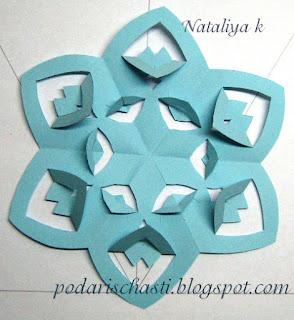 снежинка киригами шаблон