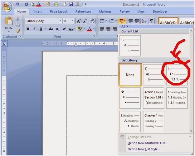 word multilevel list