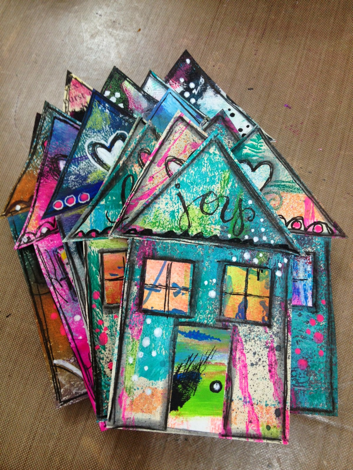 Diane 39 s mixed media art happy house tutorial for Projects of houses