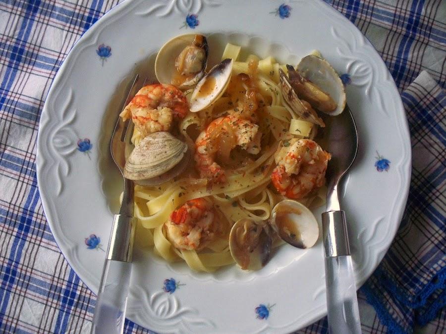pasta-langostinos-almejas