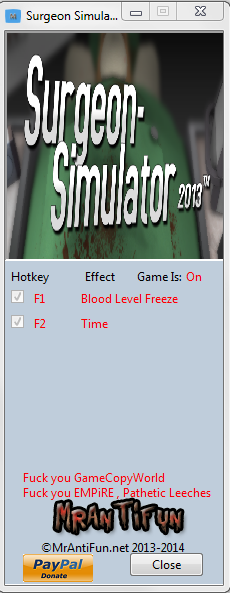 Surgeon Simulator Anniversary Edition Trainer +2  MrAntiFun