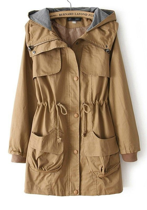 Fabulous Khaki Plain Drawstring Pockets Cotton Blend Trench Coat