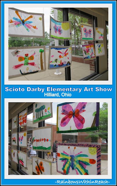 photo of: Elementary Art Show Display on Hallway Windows: Tissue Paper Suncatcher Projects