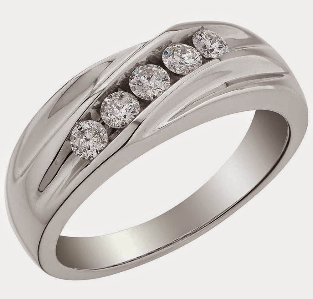 Fancy Silver Mens Wedding Rings UK 5 Diamond Design