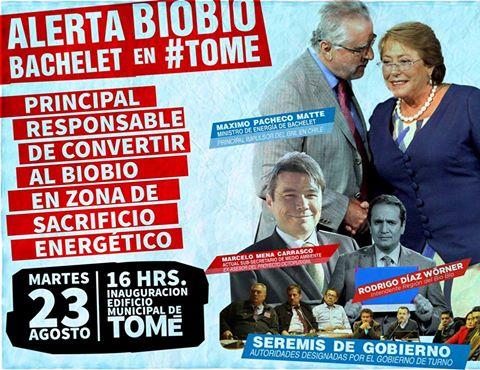 TOME: ALERTA BIO BIO, BACHELET EN TOME