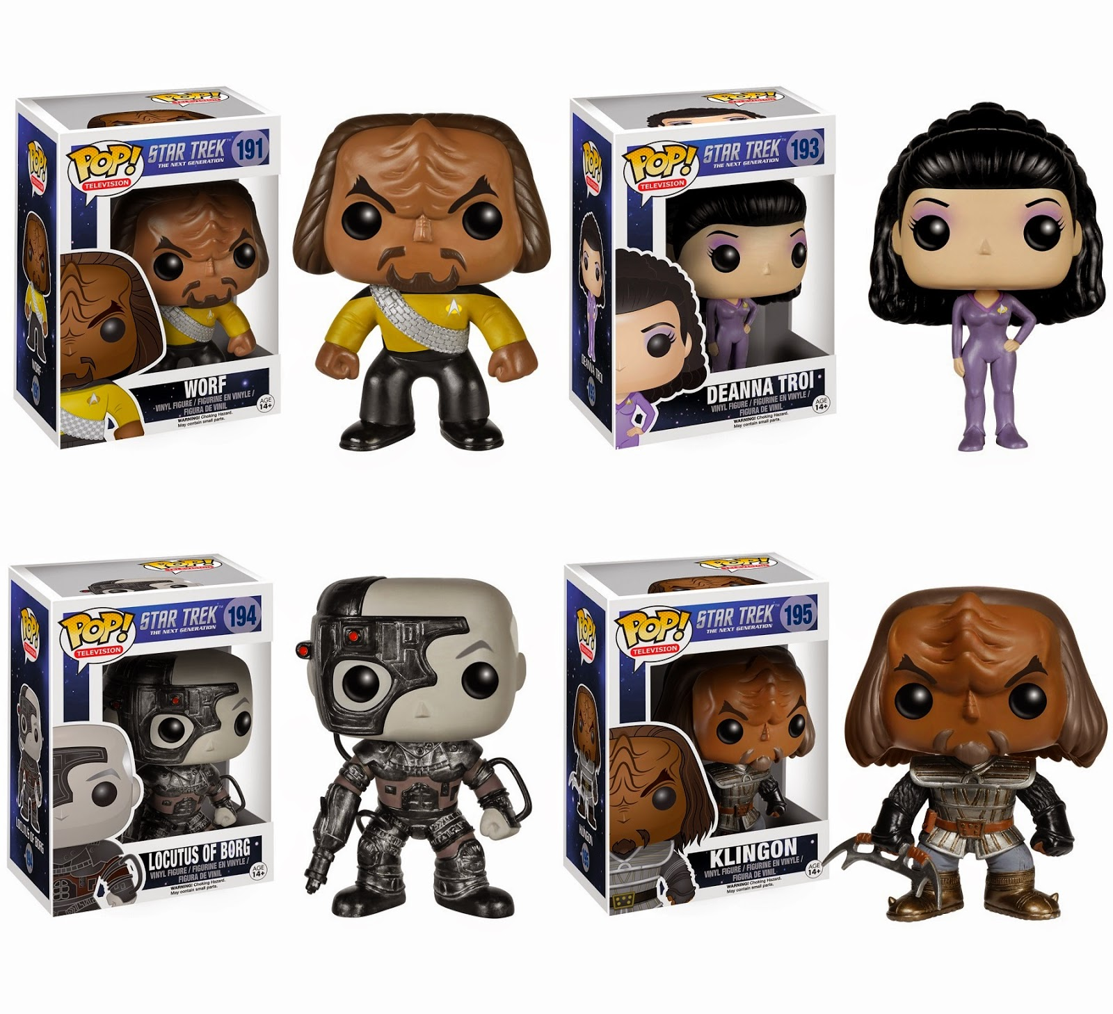 Star Trek: The Next Generation Pop! Television Vinyl Figures by Funko - Worf, Deanna Troi, Picard as Locutus of the Borg & a Klingon