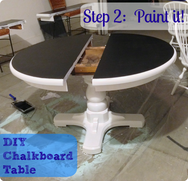 DIY kitchen painted chalkboard table
