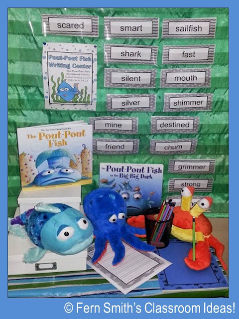 Shown: Pout-Pout Fish ~ Fern Smith's Writing Center Activities at TeacherspayTeachers