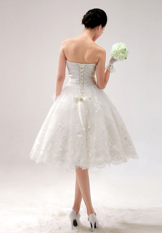 short lace ball gown wedding dress
